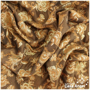 BROCADO MARRÓN BAJORRELIEVE SERIE ROSE 140cm