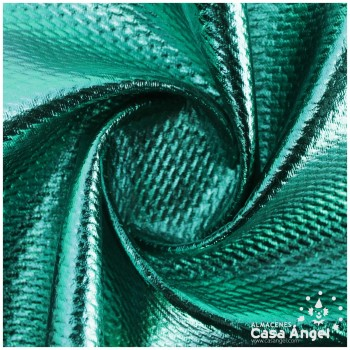 TELA PUNTO FOIL RELIEVE VERDE BRILLANTE ANCHO 150cm
