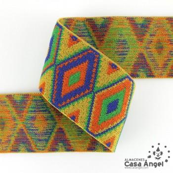 CINTA ELÁSTICA DIBUJO ROMBOS MULTICOLOR 6cm