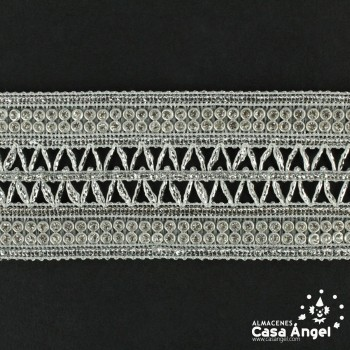 PASAMANERÍA ANCHA BORDADO ZIGZAG STRASS 40mm