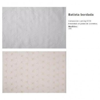 TELA BATISTA BORDADA RAMILLETE ANCHO 150cm