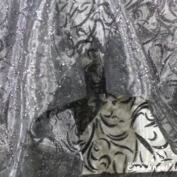 ORGANZA ESTAMPADA GLITTER SERIE LUCES ANCHO 150cm
