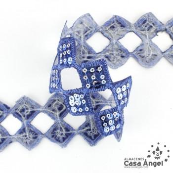 PASAMANERÍA TERMOADHESIVA LENTEJUELA TROQUELADO ROMBOS 5cm