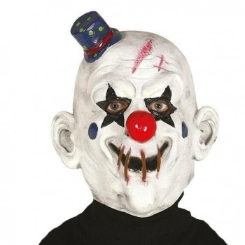 CARETA DE CLOWN DE LÁTEX CON GORRITO