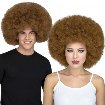 PELUCA AFRO DISCO MARRON