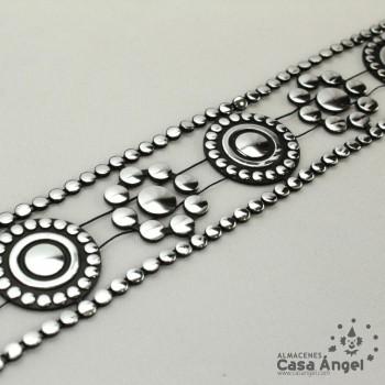 PASAMANERÍA CADENA PVC FLORES Y CÍRCULOS METALIZADOS 35mm